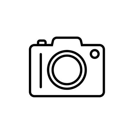 Camera line icon in flat style on white
