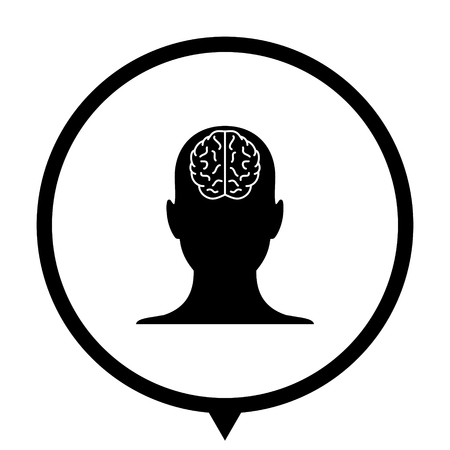 human head - black vector icon ; map pointer