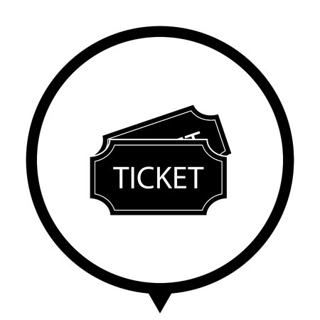 ticket - black vector icon ; map pointer