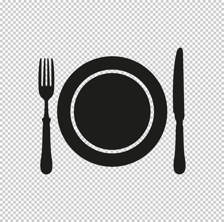 Dish; fork and knife -  black vector icon