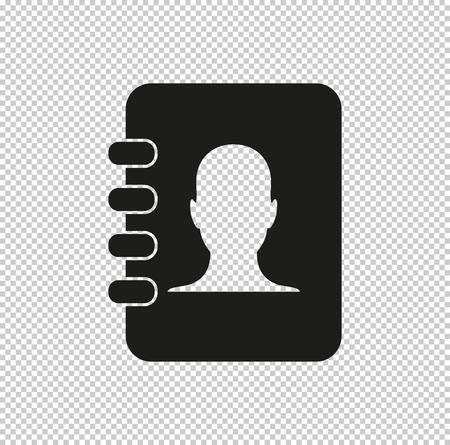 contacts book  - black vector icon