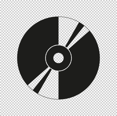 CD or DVD - black vector icon