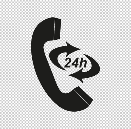 Icon 24 Hour Call Center  - black vector icon Illustration