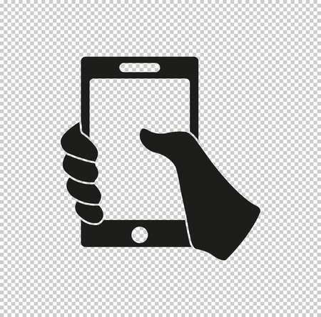 Mobile phone in hand  - black vector icon