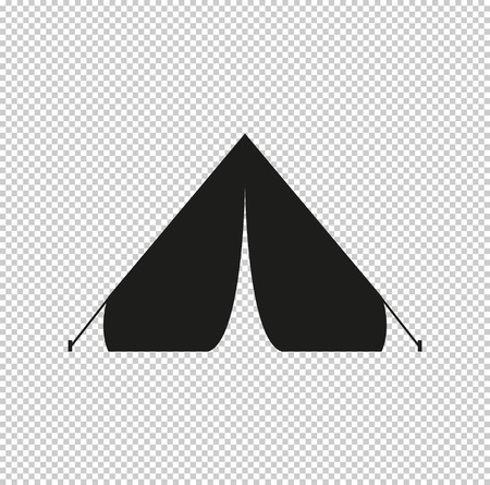 Tourist tent - black vector icon