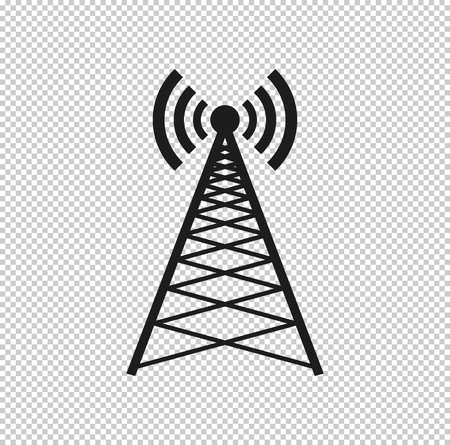 Cell Phone Tower  - black vector icon