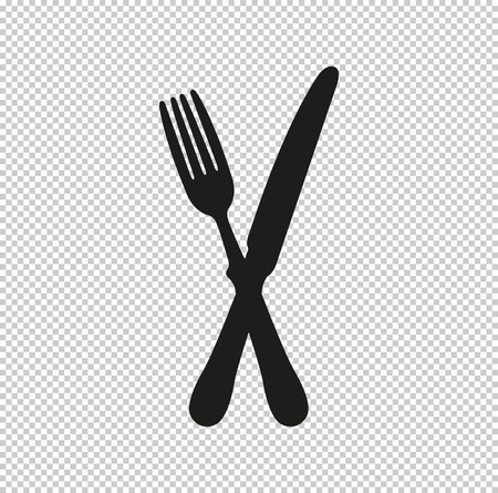 crossed fork over knife  - black vector icon