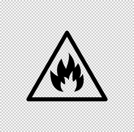 Fire danger sign  - black vector icon