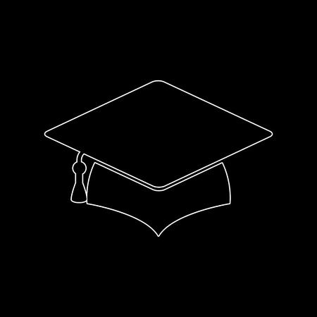 Graduation cap -  white vector icon