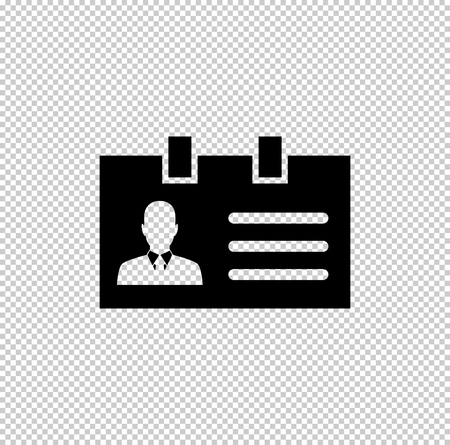 Identification card  - black vector icon