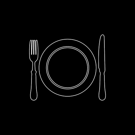 Dish; fork and knife -  white vector icon
