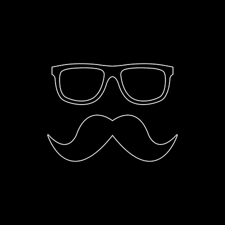 Nerd glasses and mustaches -  white vector icon