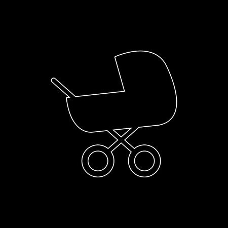 Baby carriage  - white vector icon