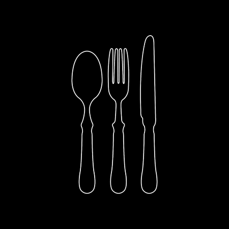 fork spoon knife  - white vector icon