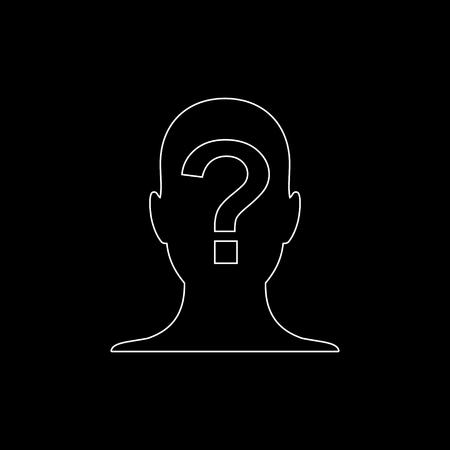 Male profile silhouette with question mark -  white vector icon