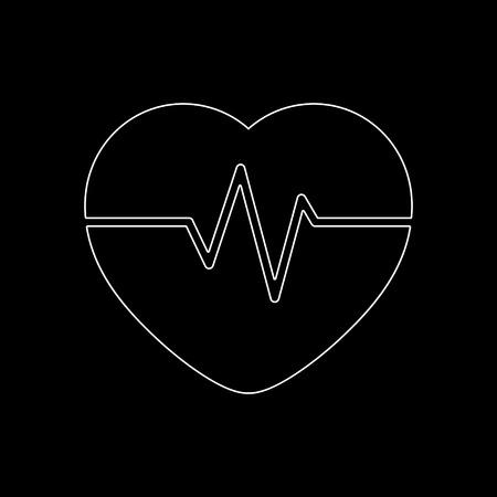Heart Pulse Beat  - white vector icon
