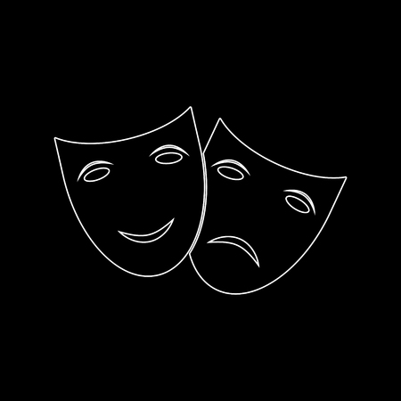 Theater icon with happy and sad masks -  white vector icon 向量圖像