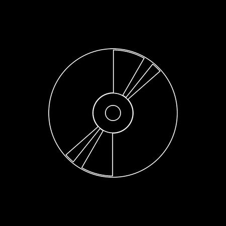 CD or DVD  - white vector icon