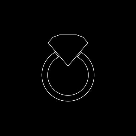Diamond ring  - white vector icon