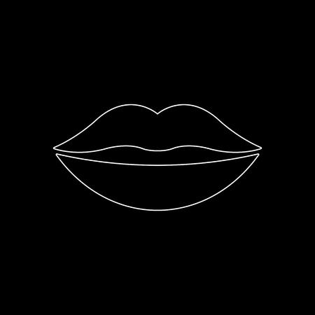 lips -  white vector icon Illustration