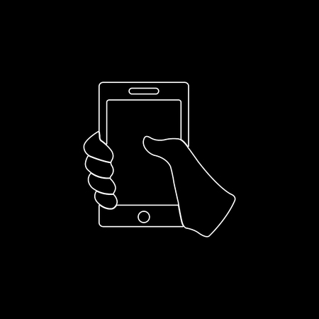 Mobile phone in hand - white vector icon
