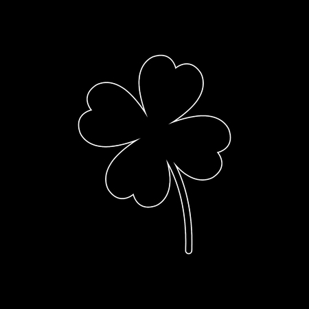 Clover with four leaves  - white vector icon Illustration
