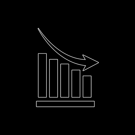 growing graph -  white vector icon