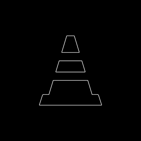 Traffic cone -  white vector icon