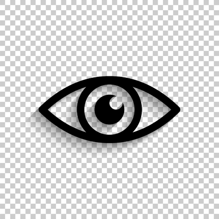 Eye - black vector  icon with shadow