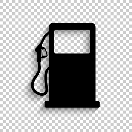 gas station sign - black vector  icon with shadow