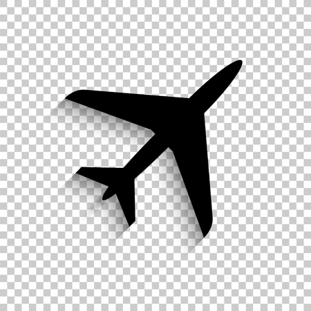 Airplane - black vector icon with shadow