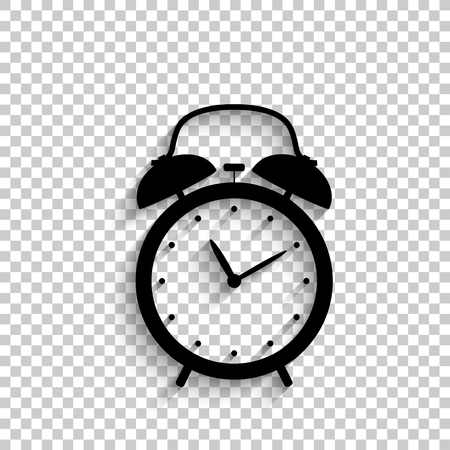 alarm clock - black vector  icon with shadow