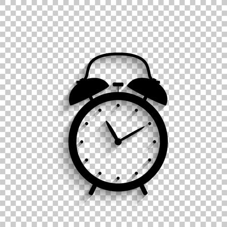 Despertador - icono de vector negro con sombra