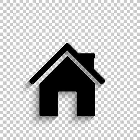 Home - black vector  icon with shadow
