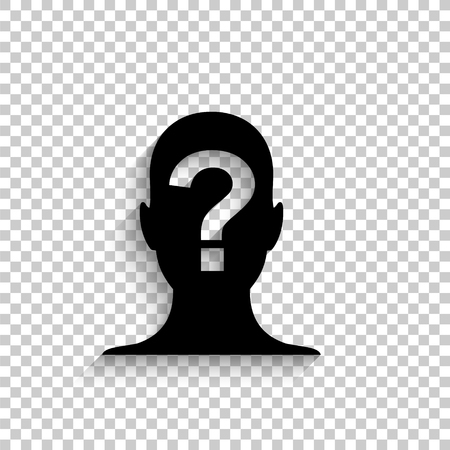 Male profile silhouette with question mark - black vector icon with shadow Vetores