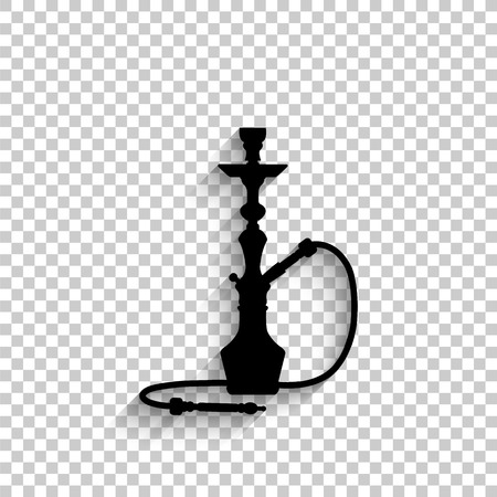 silhouette of a hookah - black vector icon with shadow Vettoriali