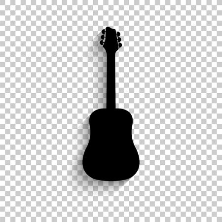 Guitar - black vector icon with shadow