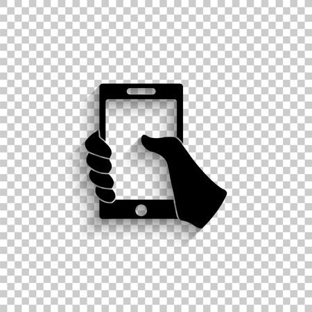 Mobile phone in hand - black vector icon with shadow