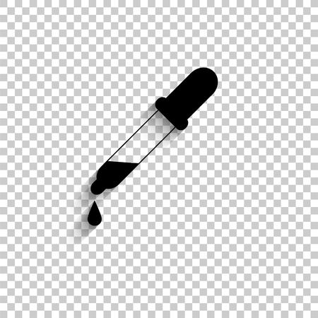 dropper - black vector  icon with shadow