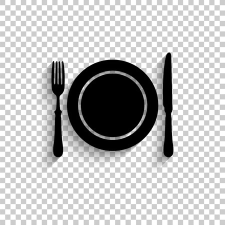 Dish; fork and knife - black vector  icon with shadow