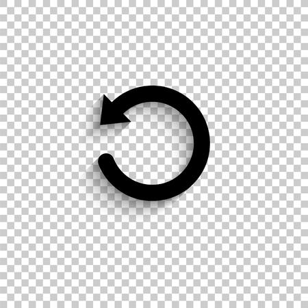 undo symbol - black vector icon with shadow Vector Illustration