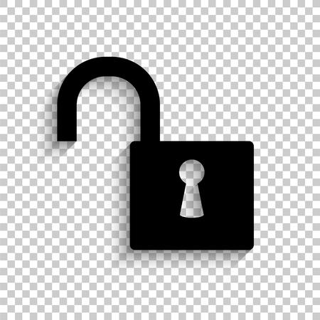 lock - black vector  icon with shadow