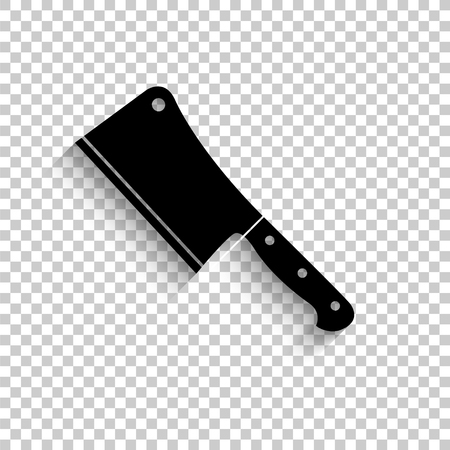 Meat cleaver knife - black vector  icon with shadow Çizim
