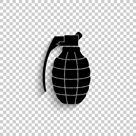 hand grenade - black vector icon with shadow
