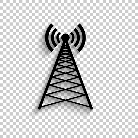Cell Phone Tower - black vector  icon with shadow 일러스트