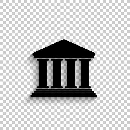 Court Building - black vector  icon with shadow Çizim