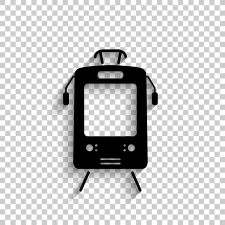 Tram - black vector  icon with shadow
