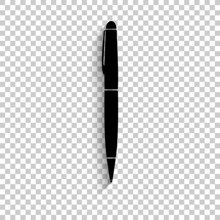 pen - black vector  icon with shadow