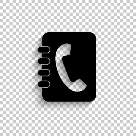 contacts book - black vector  icon with shadow