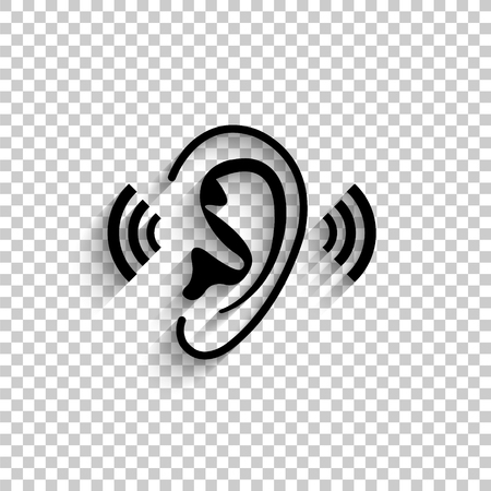 Ear - black vector  icon with shadow Illustration